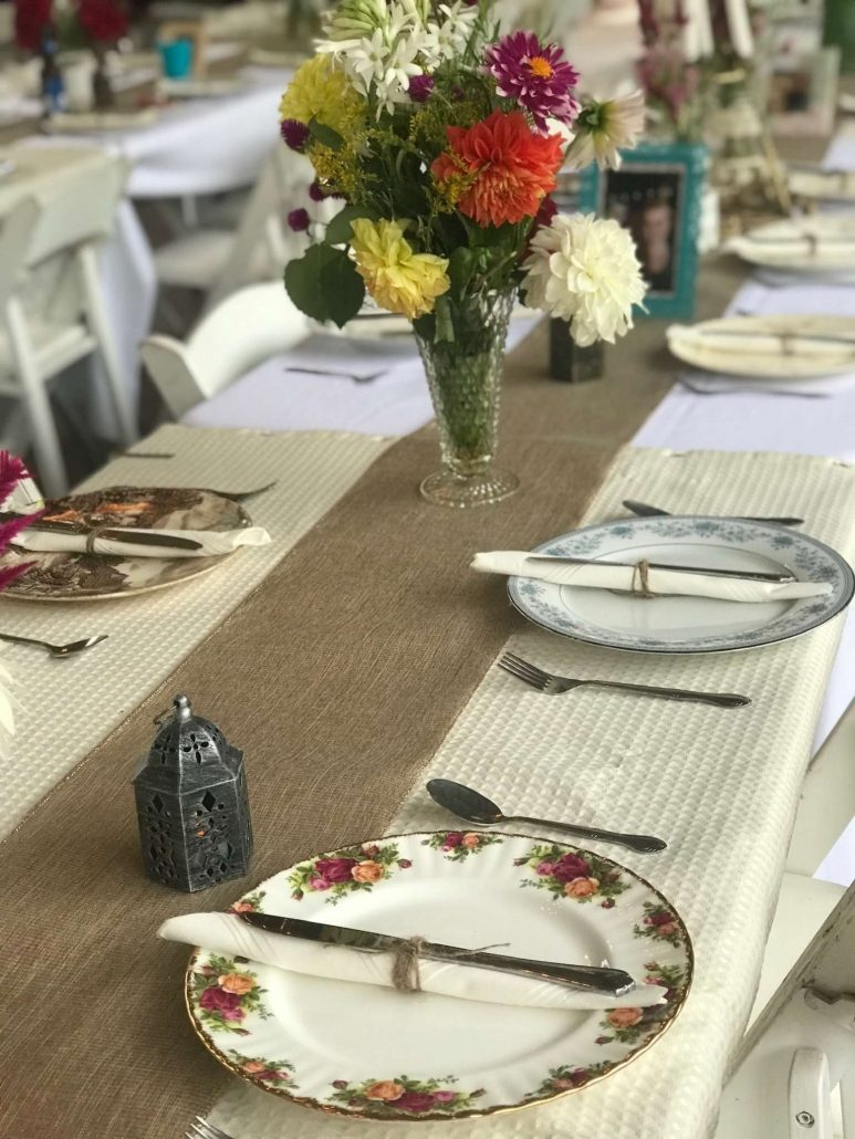 mismatched vintage china table setting